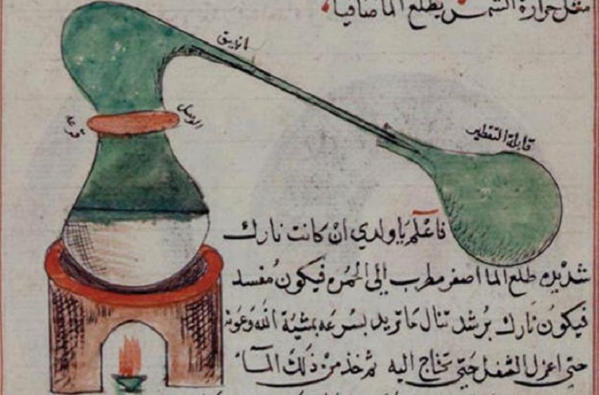 Arabic manuscript held in the British Library showing the distillation process in a treatise of chemistry. © The British Library, London.