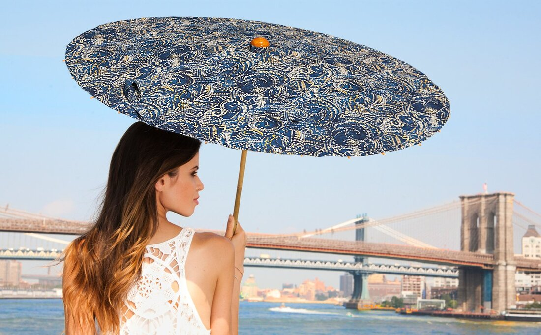 Woman in New York with a Lily-Lark shade parasol