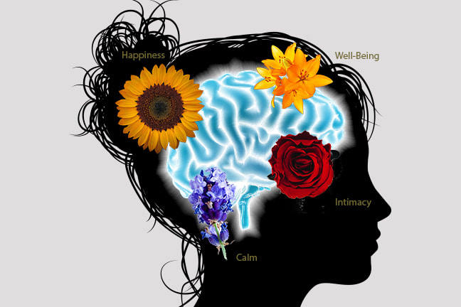Silhouette of a woman with blue brain and flowers