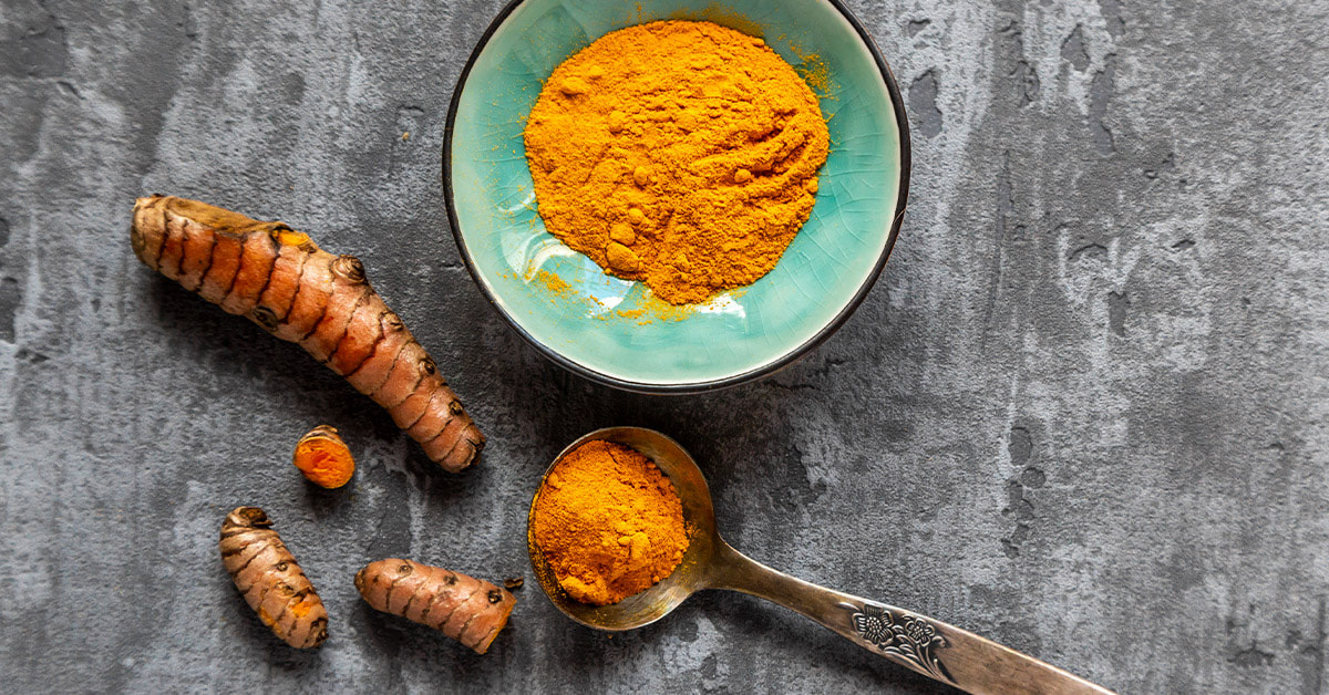 Powdered and fresh turmeric